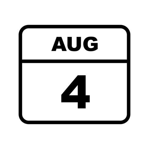 4 de agosto Fecha en un calendario de un solo día