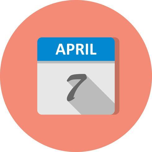 7 de abril Fecha en un calendario de un solo día