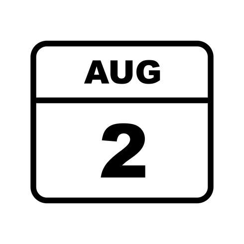 2. August Datum bei einem Tageskalender