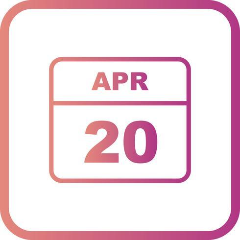 20 april Datum på en enkel dagskalender