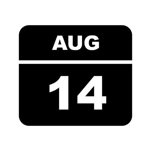 14 augusti Datum på en enkel dagskalender
