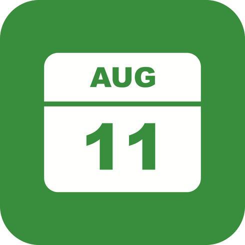 11 de agosto, fecha en un calendario de un solo día