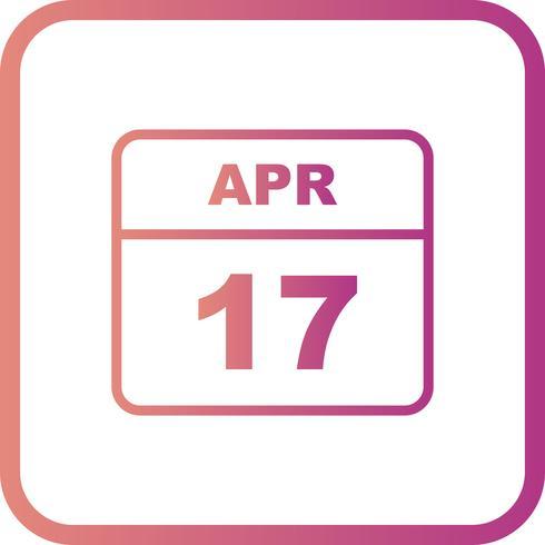 17 de abril Data em um calendário de dia único