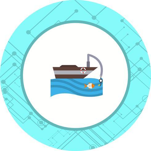 Vissersboot pictogram ontwerp