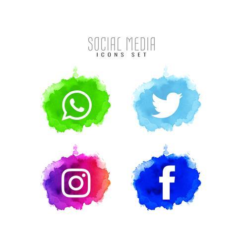 Abstrakt dekorativa sociala medier ikoner uppsättning