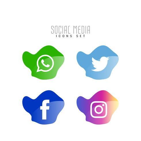 Abstrakt sociala medier eleganta ikoner uppsättning