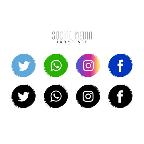 Abstract social media elegant icons set