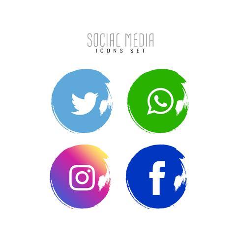 Moderna sociala medier ikoner uppsättning