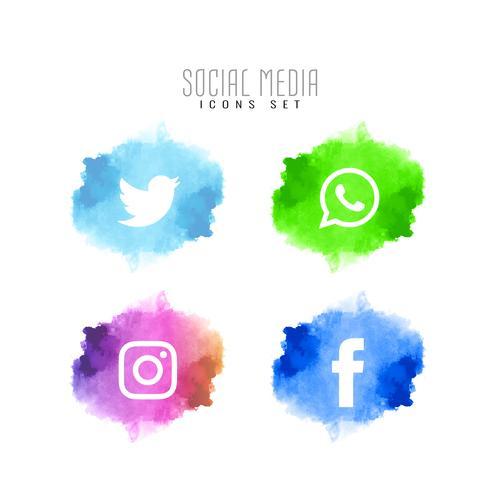 Conjunto de ícones elegantes de mídias sociais abstrata