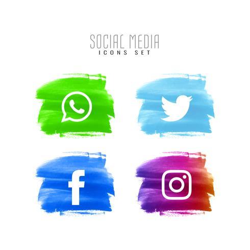 Conjunto de ícones de mídia social decorativo abstrato