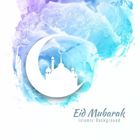 Abstract Eid Mubarak watercolor background design