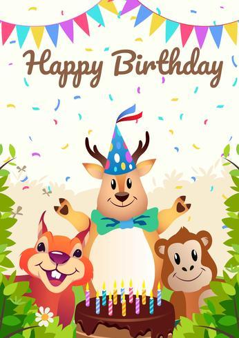 Feliz cumpleaños fiesta de animales