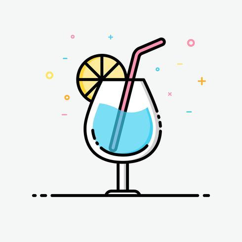 Drink pictogram in gevulde omtrekstijl voor ingericht in zomer poster en sociale media banner. Blauwe hawaii vector pictogram.