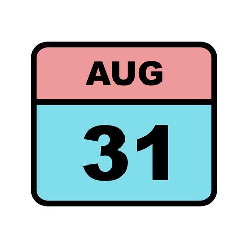 31 de agosto, fecha en un calendario de un solo día