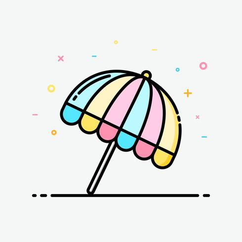 Umbrella beach icon clipart colorful in filled outline style for decorated in summer poster.