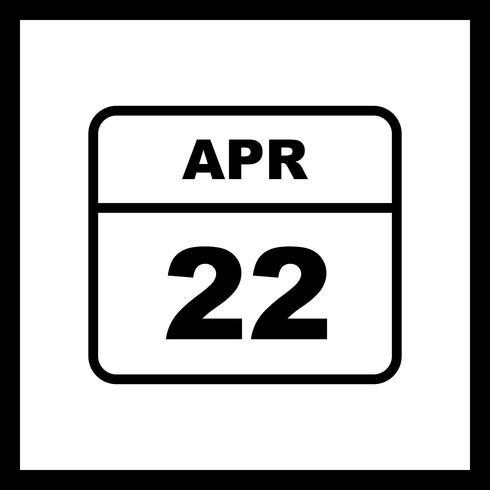 22 april Date on a Single Day Calendar