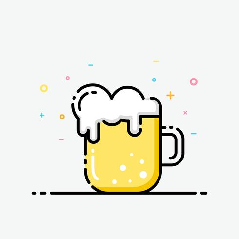 Beer icon in flat line style. Beer mug logo for social media banner, party poster, corporate identity, and app icon design.