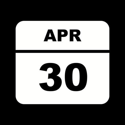 Calendrier du 30 avril sur un seul jour
