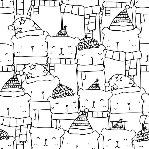 Pattern seamless with hand drawn cute bear family in black and white color. Kawaii background for kid.
