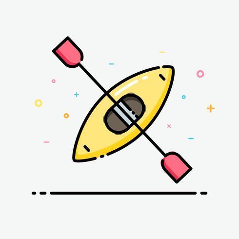 Kajak ikon i platt linjestil. Kajaklogo för företagsidentitetsdesign och banderolldesign skapad av vektor.