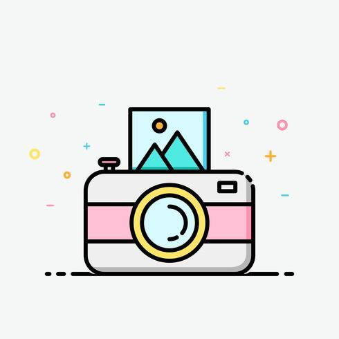 Camera clipart kleurrijk in gevulde overzichtsstijl voor verfraaid in de zomeraffiche en sociale media banner.