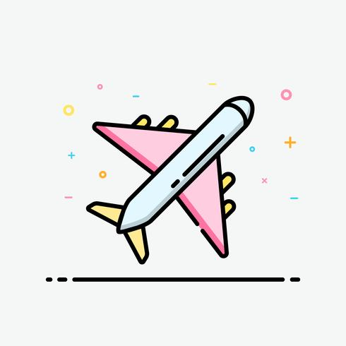 Plane icon in filled outline style for decorated in summer poster and social media banner.