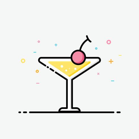 Cocktailikone in gefüllter Entwurfsart für verziert im Sommerplakat und in der Social Media-Fahne.