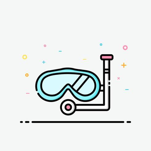 Icône de tuba dans le style de contour rempli pour décoré en affiche de l'été et bannière de médias sociaux.