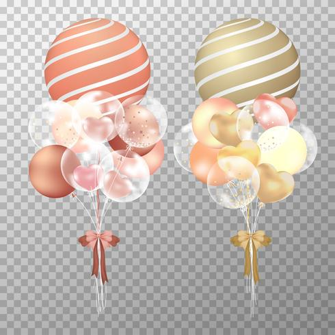 Ballonger på transparent bakgrund. Realistisk glänsande koppar och guld ballonger vektor illustration. Party ballonger dekorationer bröllop, födelsedag, firande och årsdag kort design.