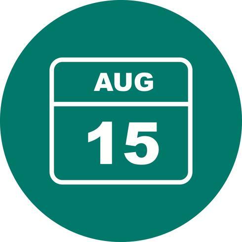 15 de agosto, fecha en un calendario de un solo día