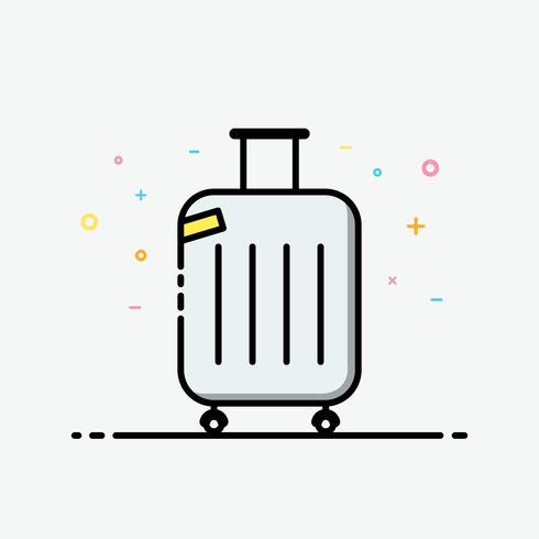 Vecteur d'icône valise. Sac de voyage dans le style de contour rempli pour décoré dans l'affiche de l'été et la bannière des médias sociaux.