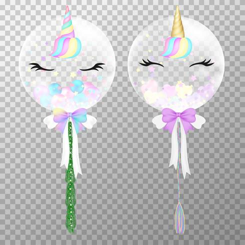 Unicorn balloons on transparent background. Realistic cute helium unicorn balloons colorful vector illustration. Party balloons decorations wedding, birthday, celebration and anniversary card design.
