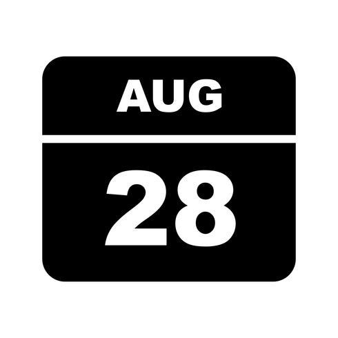 28 augusti Datum på en enkel dagskalender