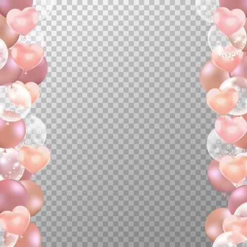 Realista rosa con globos dorados y marco transparente. Vector de globos de fiesta para decoraciones de boda, cumpleaños, celebración y diseño de tarjetas de aniversario.