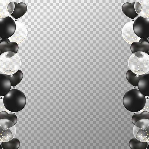 Cornice di palloncini realistico con sfondo trasparente. Il partito in bianco e nero balloons il vettore per progettazione delle nozze delle nozze, di compleanno, della celebrazione e di anniversario delle decorazioni.