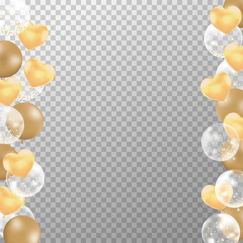 Realistic golden balloons frame with transparent background. Golden party balloons vector for decorations wedding, birthday, celebration and anniversary card design.