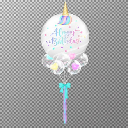 Verjaardagsballons op transparante achtergrond. Realistische Eenhoorn helium ballon vectorillustratie. Kawaii lucht ballonnen voor decoraties verjaardagsfeestje ontwerpsjabloon.
