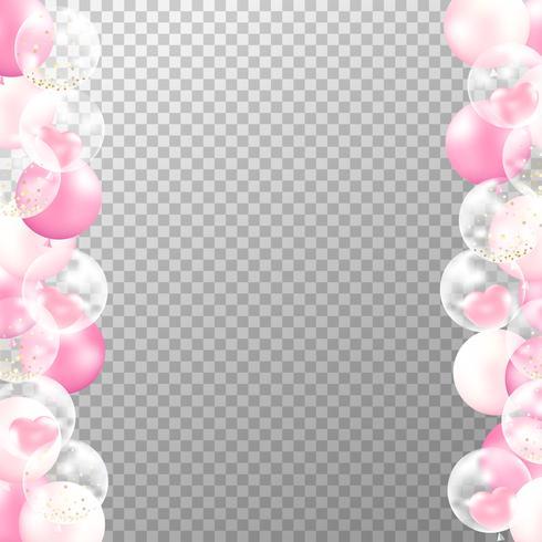 Moldura de balões realistas com fundo transparente. O partido cor-de-rosa e branco balloons o vetor para o casamento de decorações, o aniversário, a celebração e o projeto de cartão do aniversário.