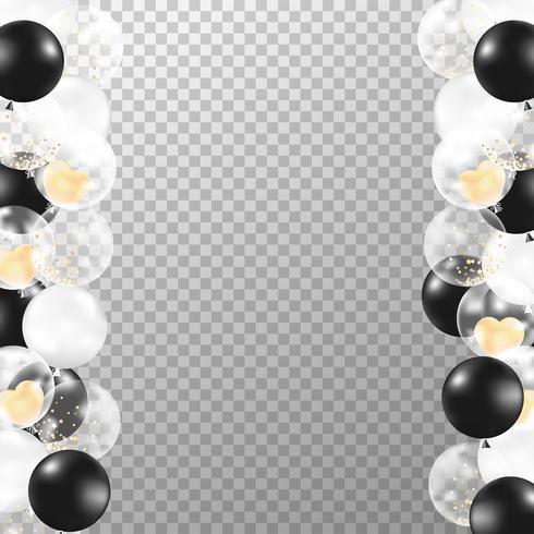 Realistischer Ballonrahmen mit transparentem Hintergrund. Schwarzweiss-Partyballonvektor für Dekorationen Hochzeit, Geburtstag, Feier und Jahrestagskartendesign.