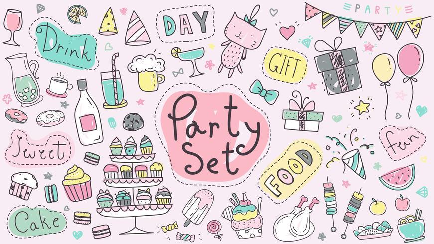 Gullig festhandritad klottersamling i pastellfärg. Kawaii party doodle ritning för dekoration scrapbook, inbjudningskort och party affisch.