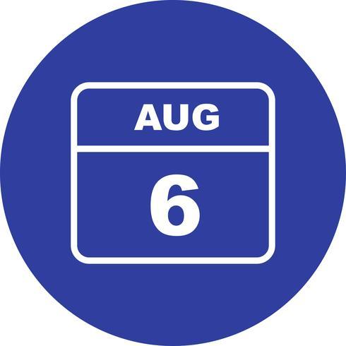 6 de agosto Data em um calendário de dia único
