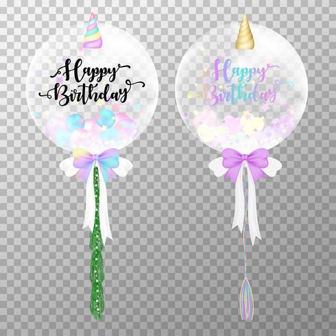 Globos de cumpleaños sobre fondo transparente. Ilustración realista del vector del globo del helio del unicornio. Kawaii globos de aire para la plantilla de diseño de la fiesta de cumpleaños decoraciones.