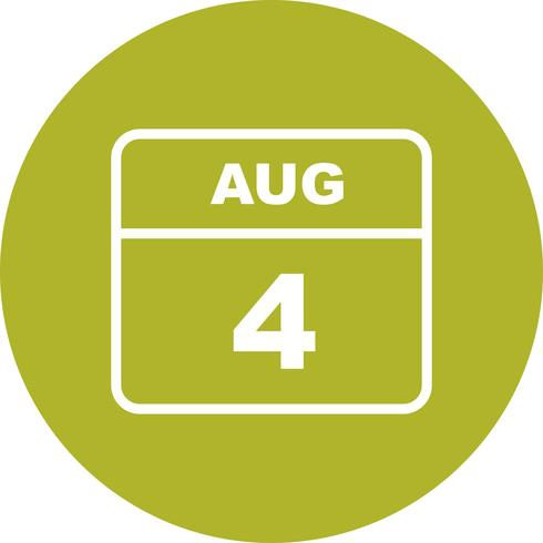 4 agosto Data in un calendario per un solo giorno