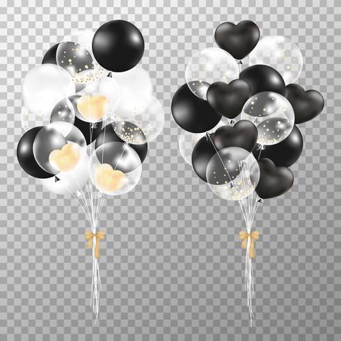 Ballonger på transparent bakgrund. Realistisk glansig svart, gyllene och genomskinlig ballong vektor illustration. Party ballonger dekorationer bröllop, födelsedag, firande och årsdag.