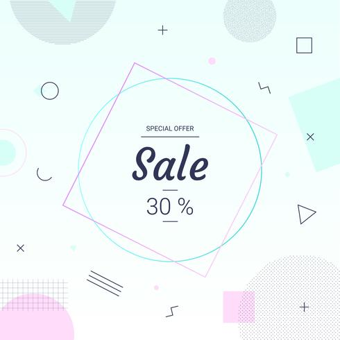 Sale banner Memphis style in pastel color with geometric shapes. Sale background minimal design template create by vector.