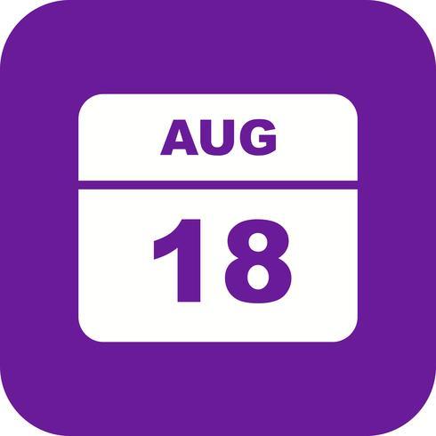 18 de agosto Data em um calendário único dia