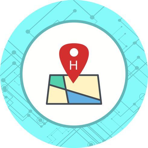 Hospital, ícone, desenho, localização