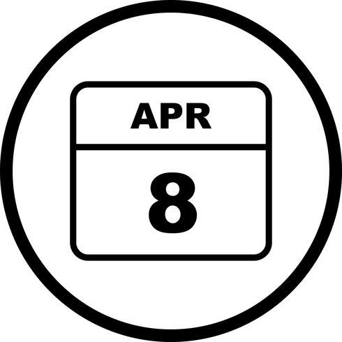 8 de abril Fecha en un calendario de un solo día