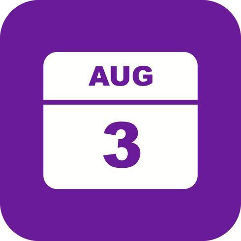 3 agosto Data in un giorno unico calendario