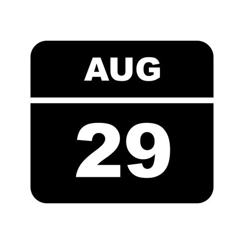 August 29th Date on a Single Day Calendar